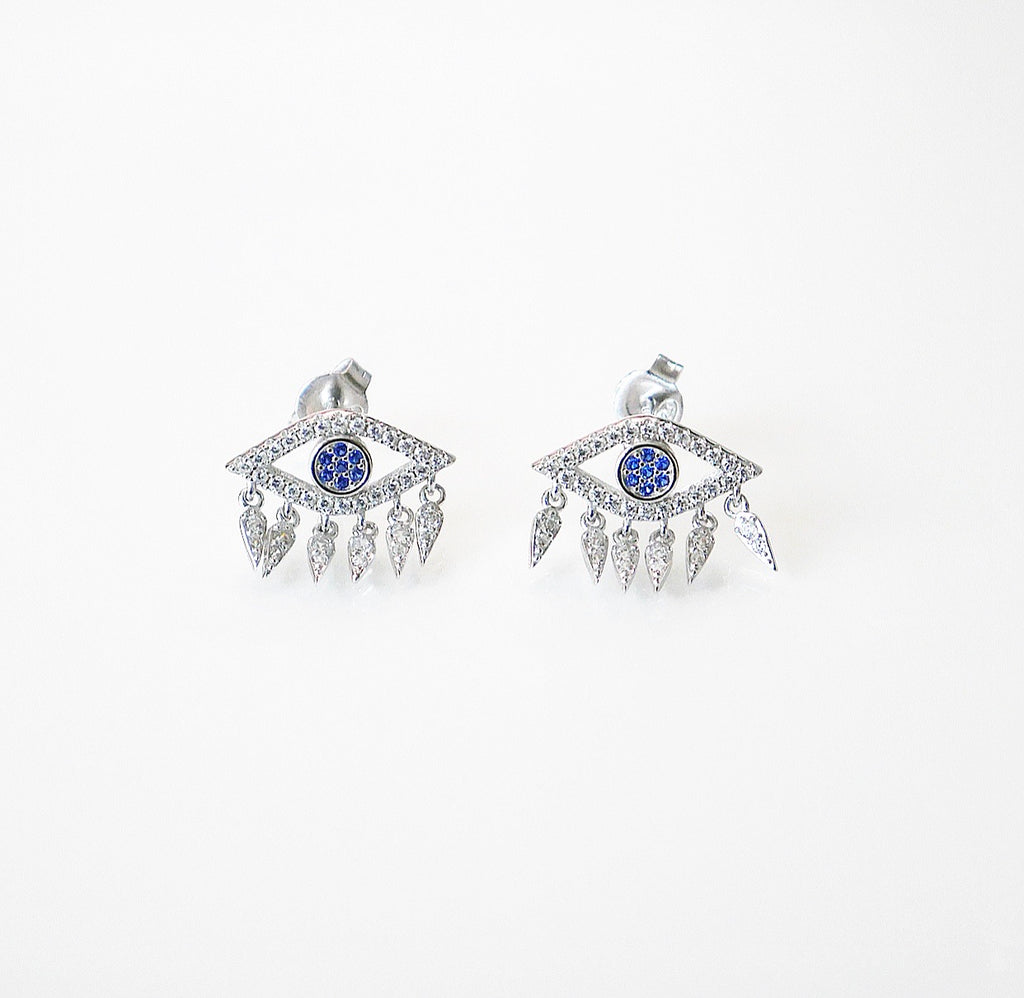 evil eye earrings with fringe, evil eye clearings in sterling silver evil eye sterling silver with blue eye earrings evil eye jewelry cute evil eye earrings evil eye ear jacket