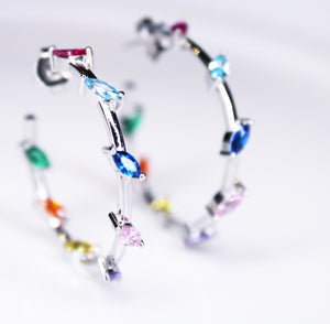 Colour Crystal Hoop Earrings