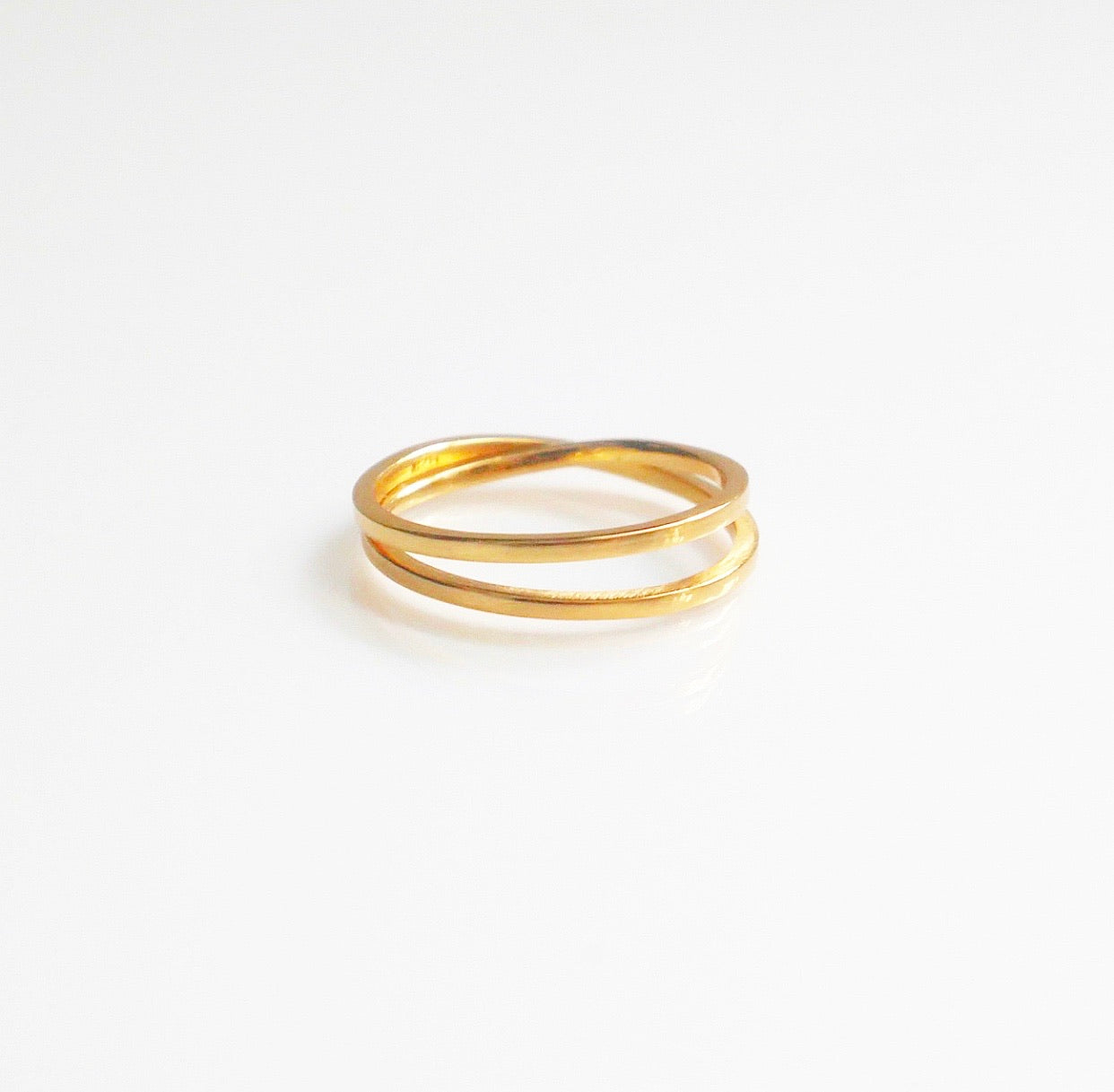 double gold ring in sterling silver, gold double ring gold stack ring