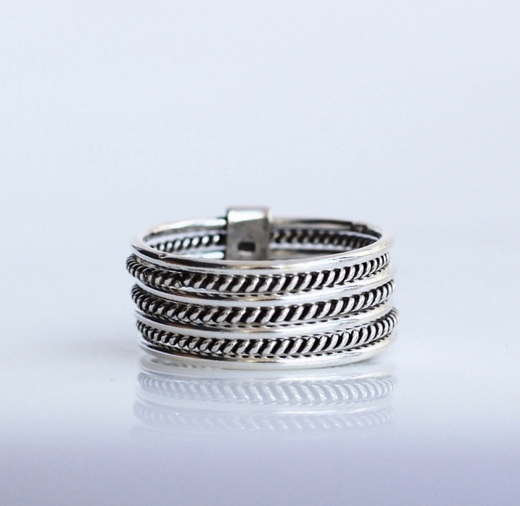 Chic Wire Stack Ring, Stack Rings, Multiple ring, Layered Jewelry, rings, artsy ring, edgy ring, Sterling silver ring, gifts for her, popular rings, Boho Ring, by KesleyBoutique.com, Girlwith3jobs.com
