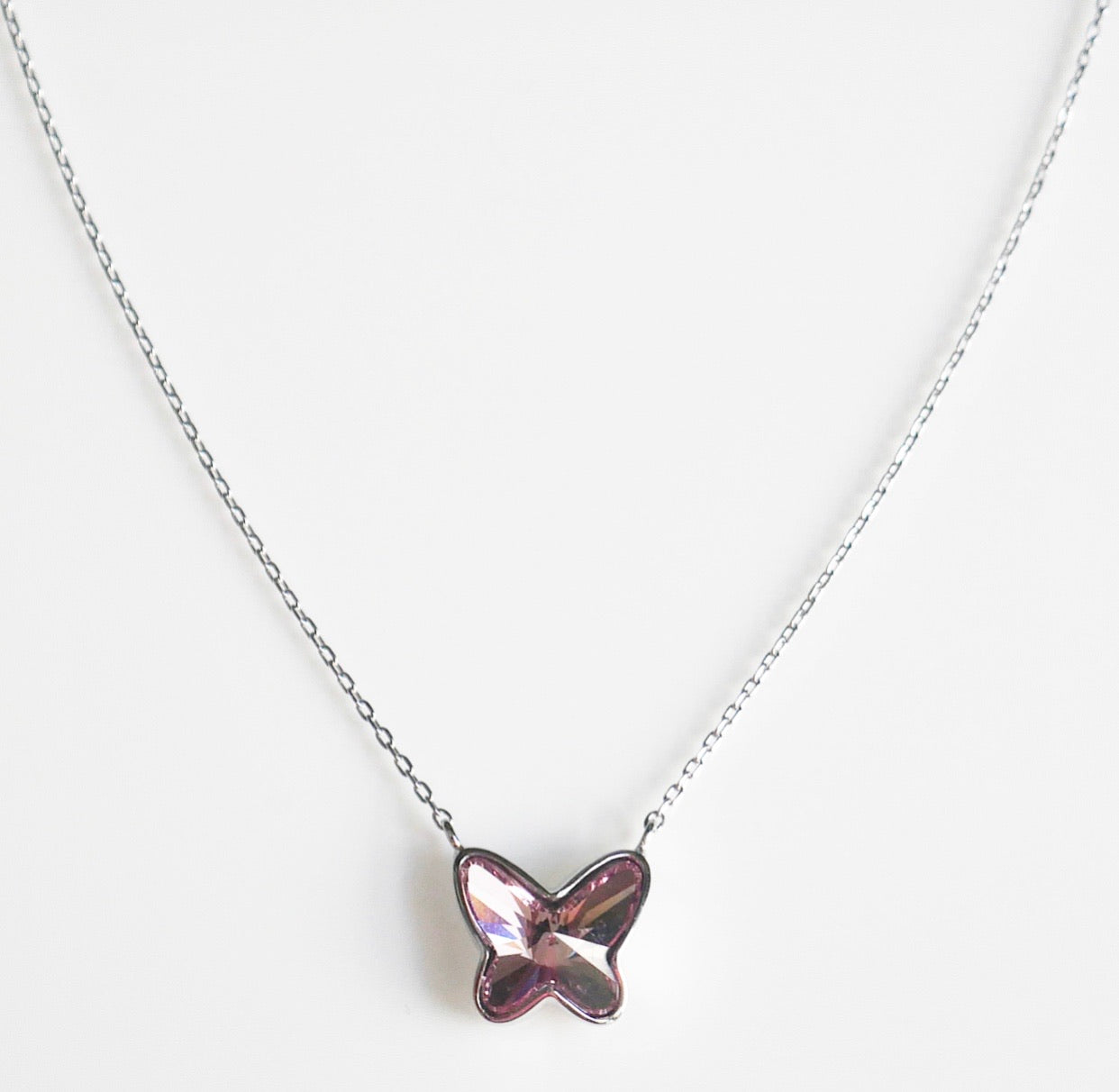 butterfly necklace in sterling silver swarovski butterly necklace small butterfly necklace sterling silver necklace