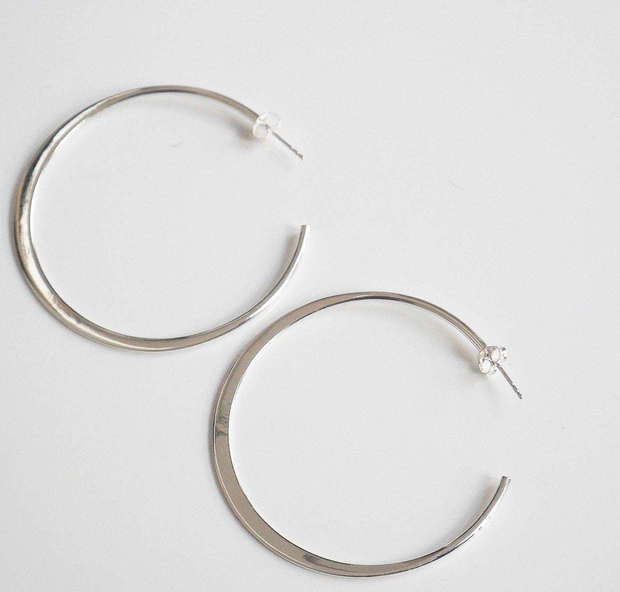Flat Iron Push Back Hoop Earrings
