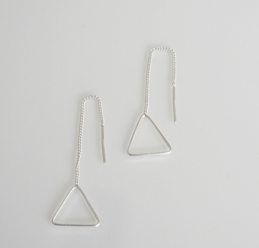 Triangle Outline Thread Earrings