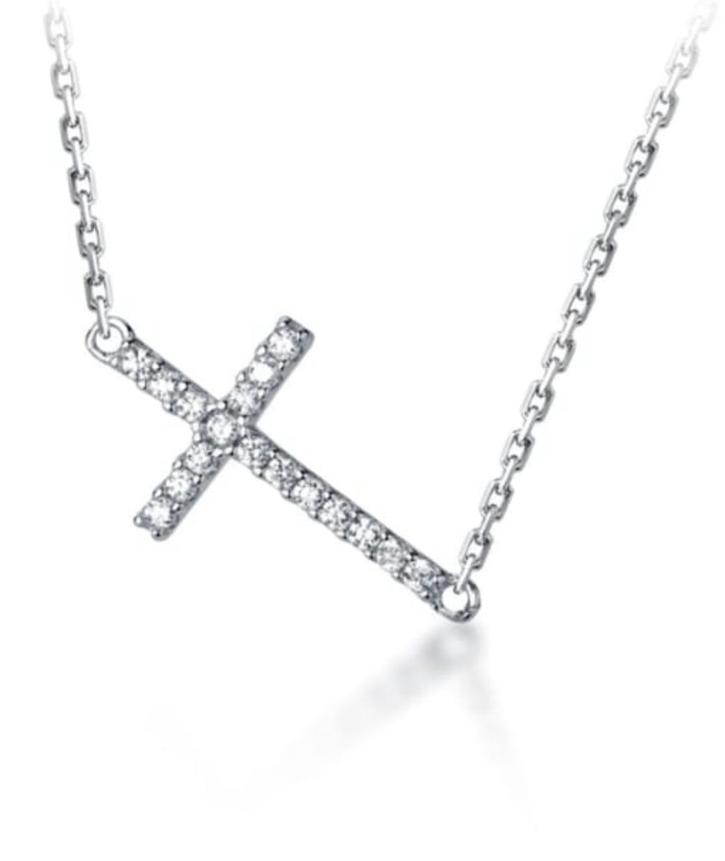 Side ways cross sparkle Necklace
