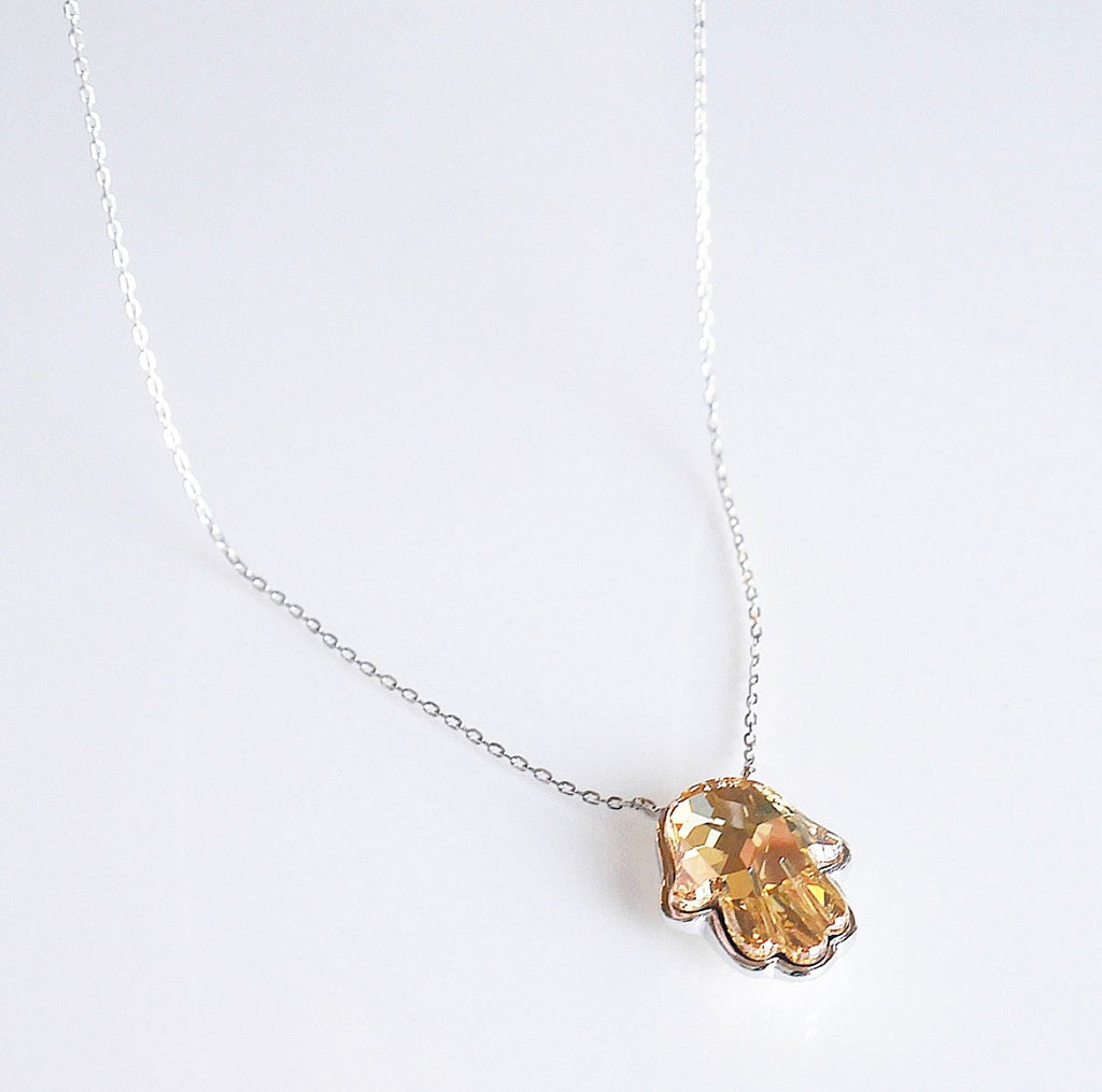 Golden Hand Crystal Necklace