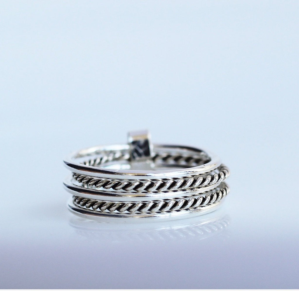 Chic Wire Double Stack Ring, Stack Rings, Multiple ring, Layered Jewelry, rings, artsy ring, edgy ring, Sterling silver ring, gifts for her, popular rings, Boho Ring, by KesleyBoutique.com, Girlwith3jobs.com