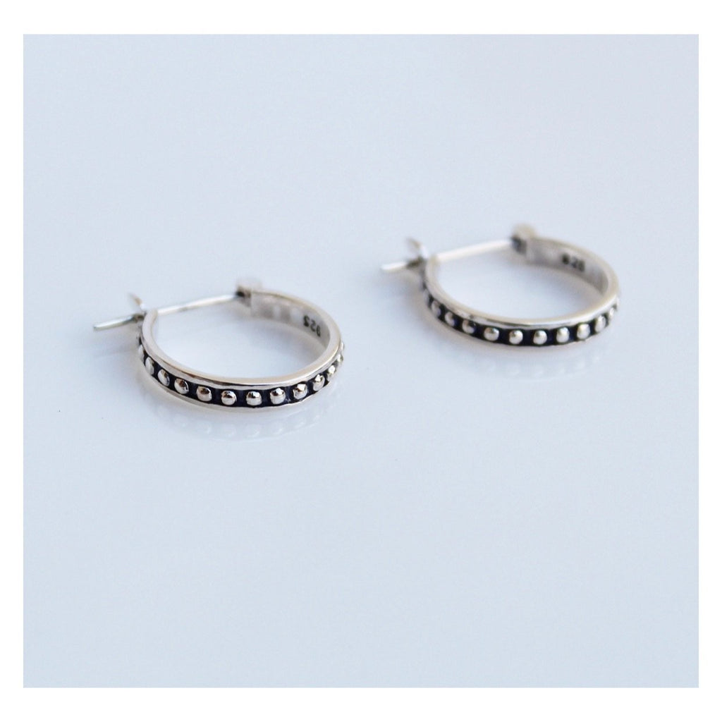 Boho Small Hoop Earrings, Small Hoop earrings, small huggie earrings in sterling silver, by KesleyBoutique.com, Girlwith3jobs.com
