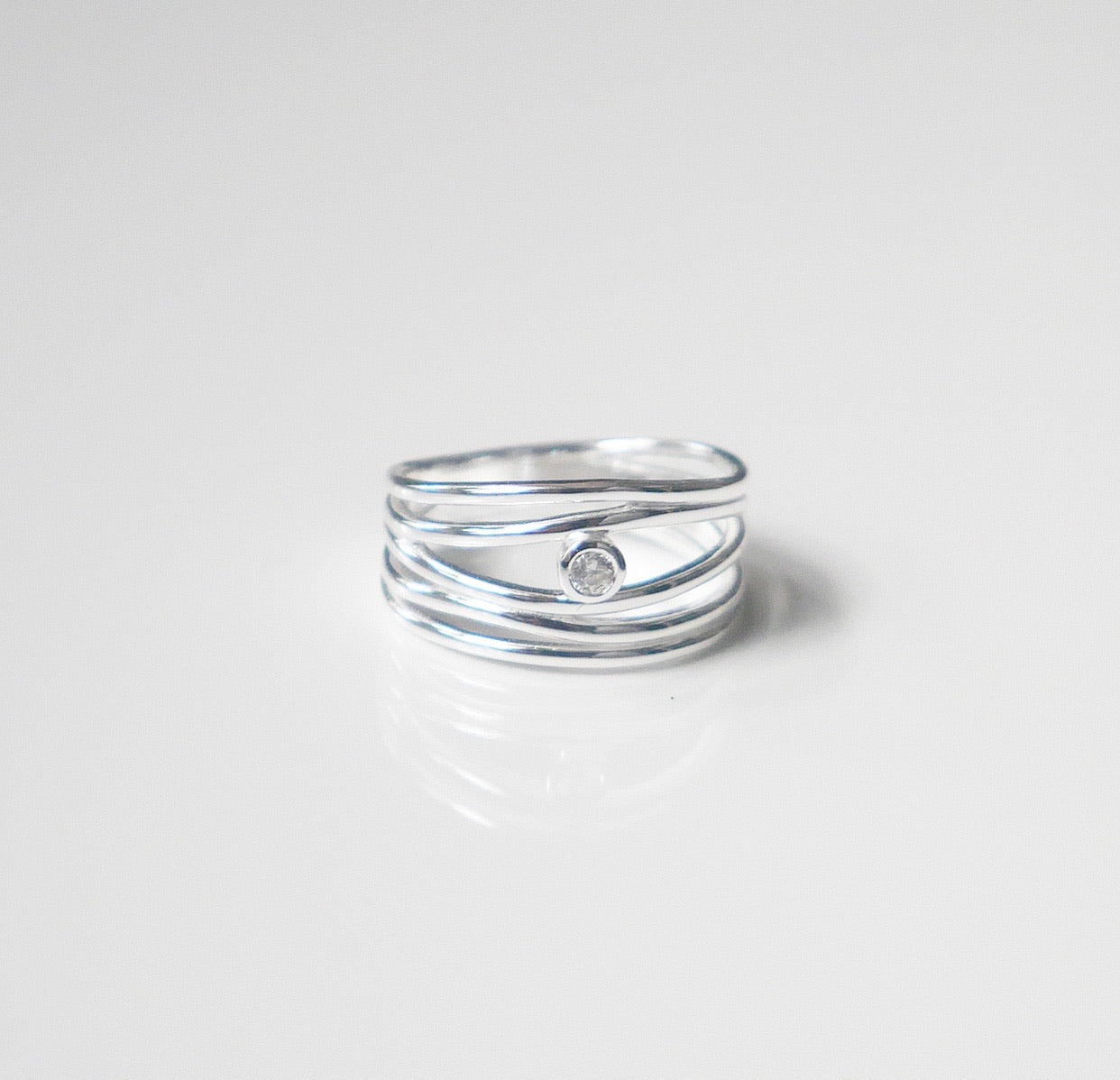 Wire Stack Crystal Ring