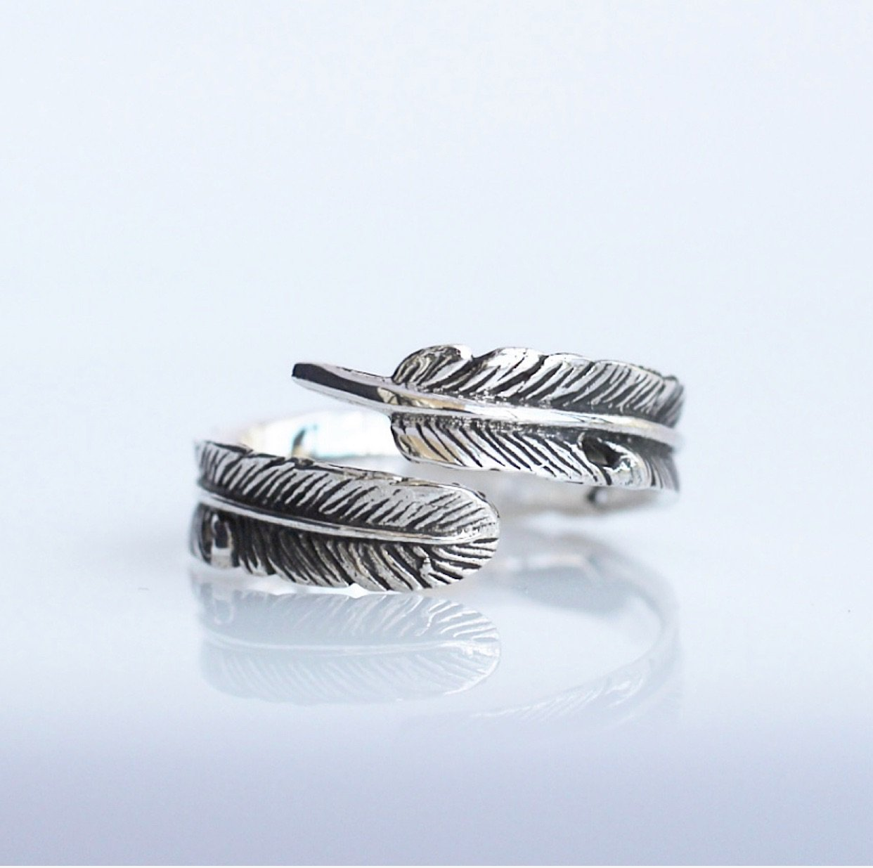 Boho Chic Ring, Adjustable feather ring, Sterling silver feather ring, gift ideas, gifts for her, popular jewelry, adjustable ring by KesleyBoutique.com, Girlwith3jobs.com