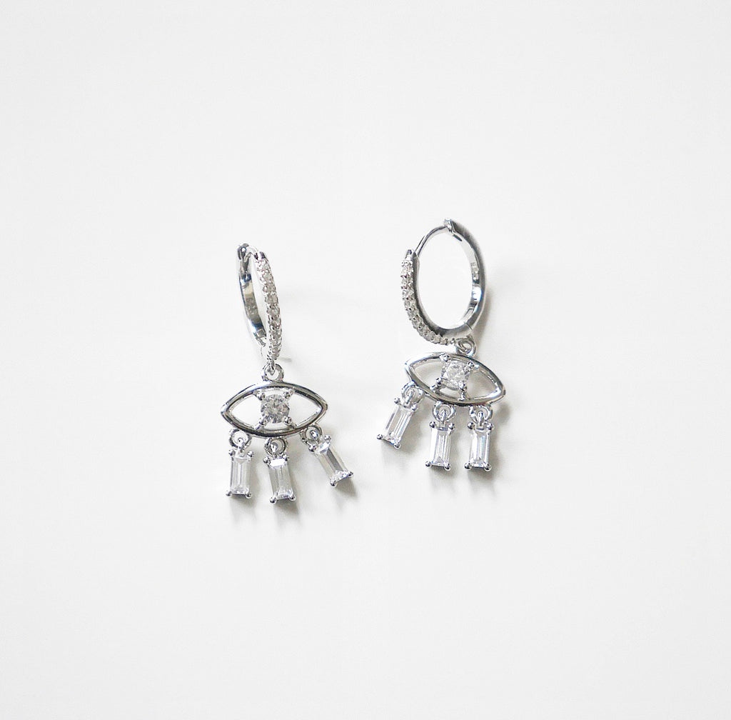 evil eye crystal earrings with eyelashes sterling silver earrings