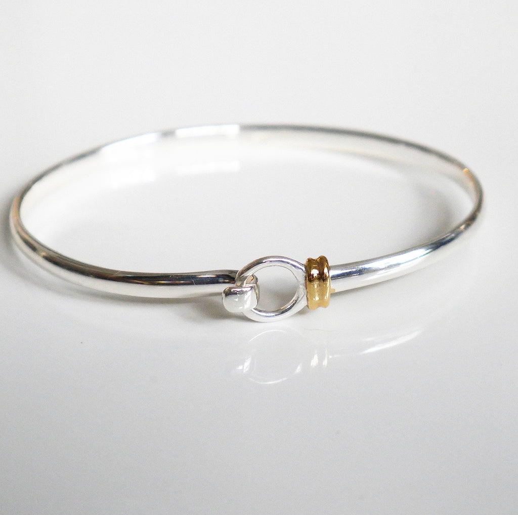 cuff bracelet with hook in .925 sterling silver bu kesleyboutique, girlwith3jobs, silver jewelry in Miami , bangle bracelet with gold and silver