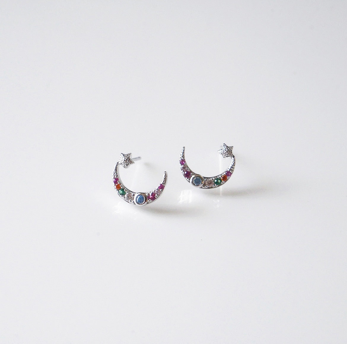 Colorful Night Moon Star Post Earrings