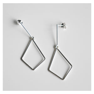 Geometric Hang-low Silver Earrings