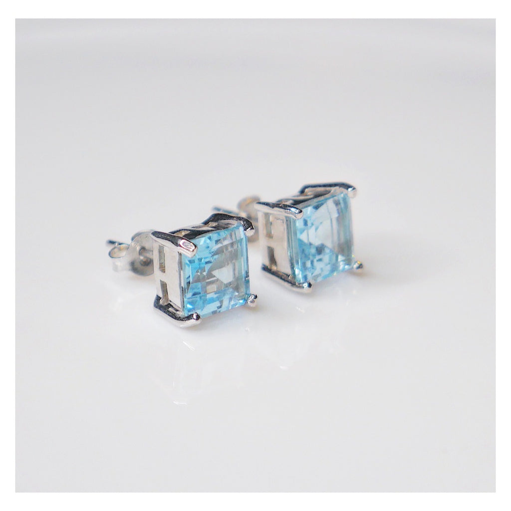Sky-Blue Topaz Stud Earrings
