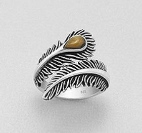 Tigers eye statement leaf ring by Kesley, Girlwith3jobs