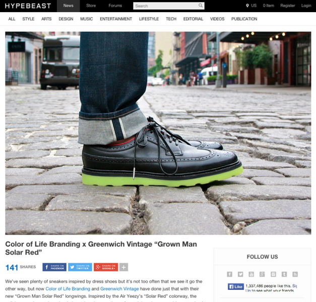 """Grown Man Solar Reds"" featured on Hypebeast"