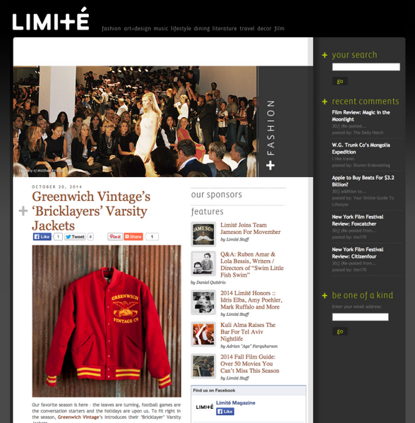 GVco's Bricklayer Varsity Jackets in Limité Magazine