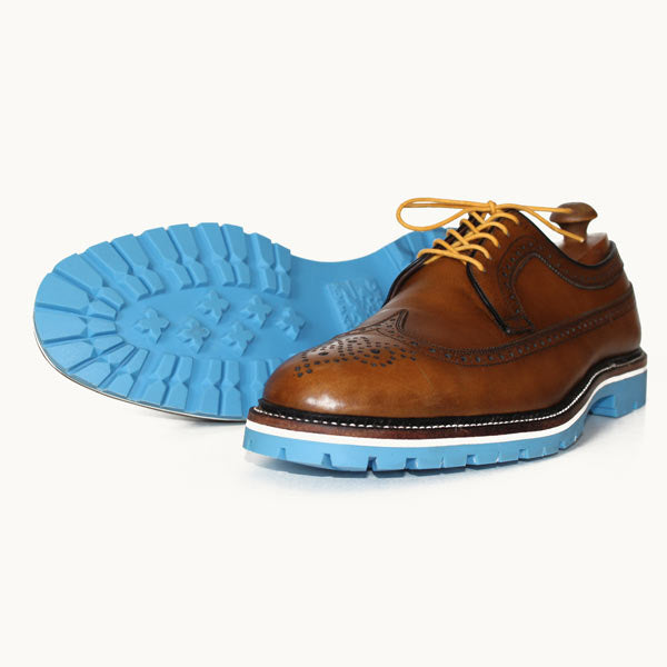 Custom Built:  Brown Wingtip with Blue Sole