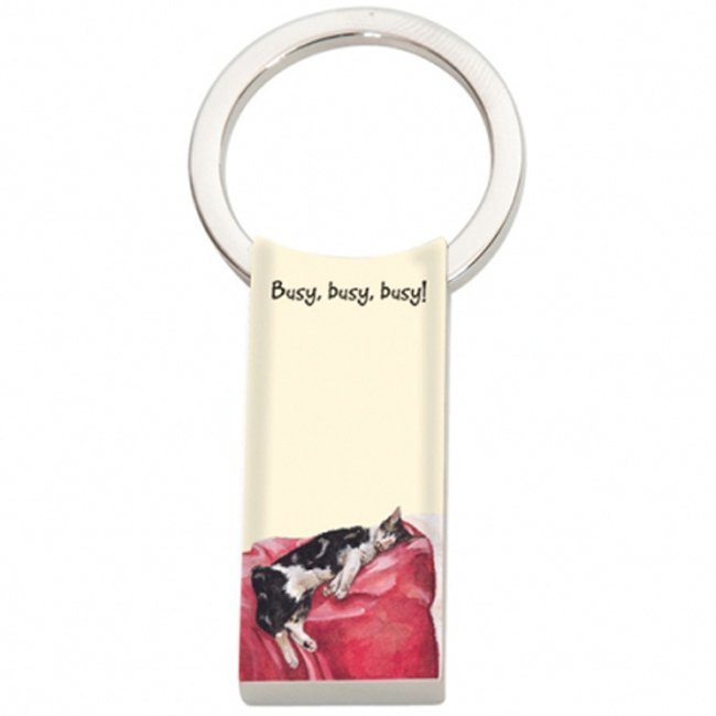 Cat Long Keyring  – busy, busy, busy !