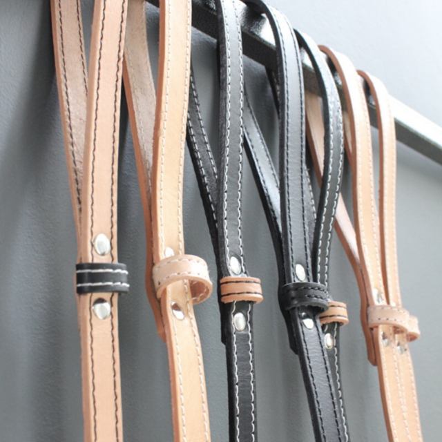Dog Lead - Natural / Black Leather