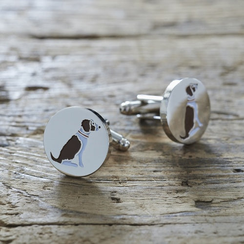 Cufflinks - Springer Spaniel (Liver White)