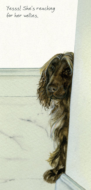 Sprocker Dog Greeting Card – Wellies