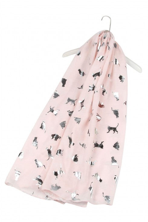 Cat Foiled Print Scarf