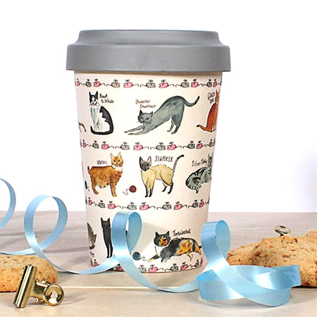 Curious Cats Travel Mug Eco Bamboo Fibre 17oz