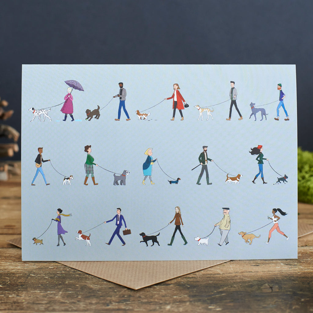 Dog Walker Greeting Card