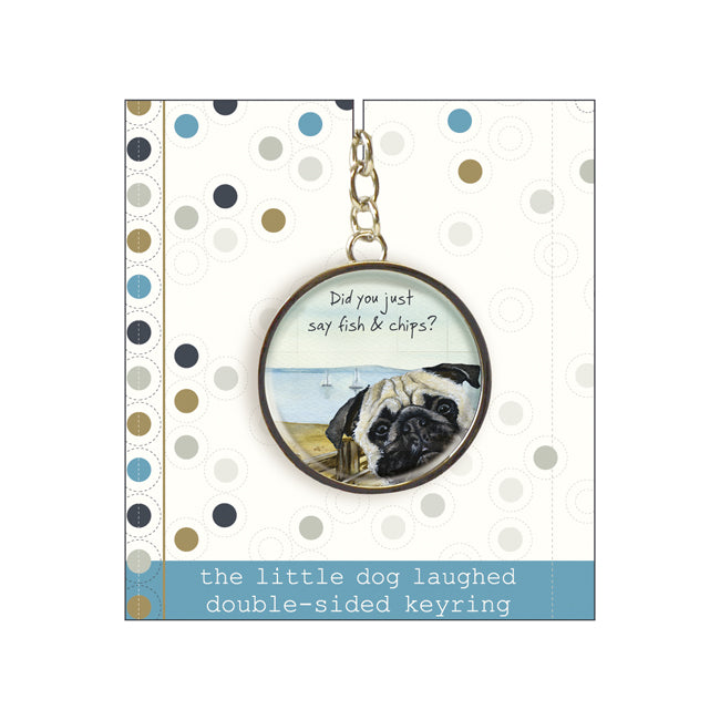 Pug Dog Keyring - Fish & Chips