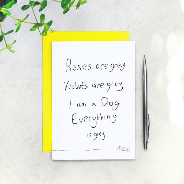 Roses Are Grey Anniversary Card