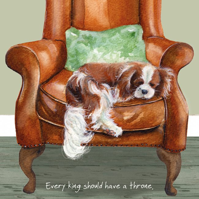 King Charles Cavalier Greeting Card - Throne
