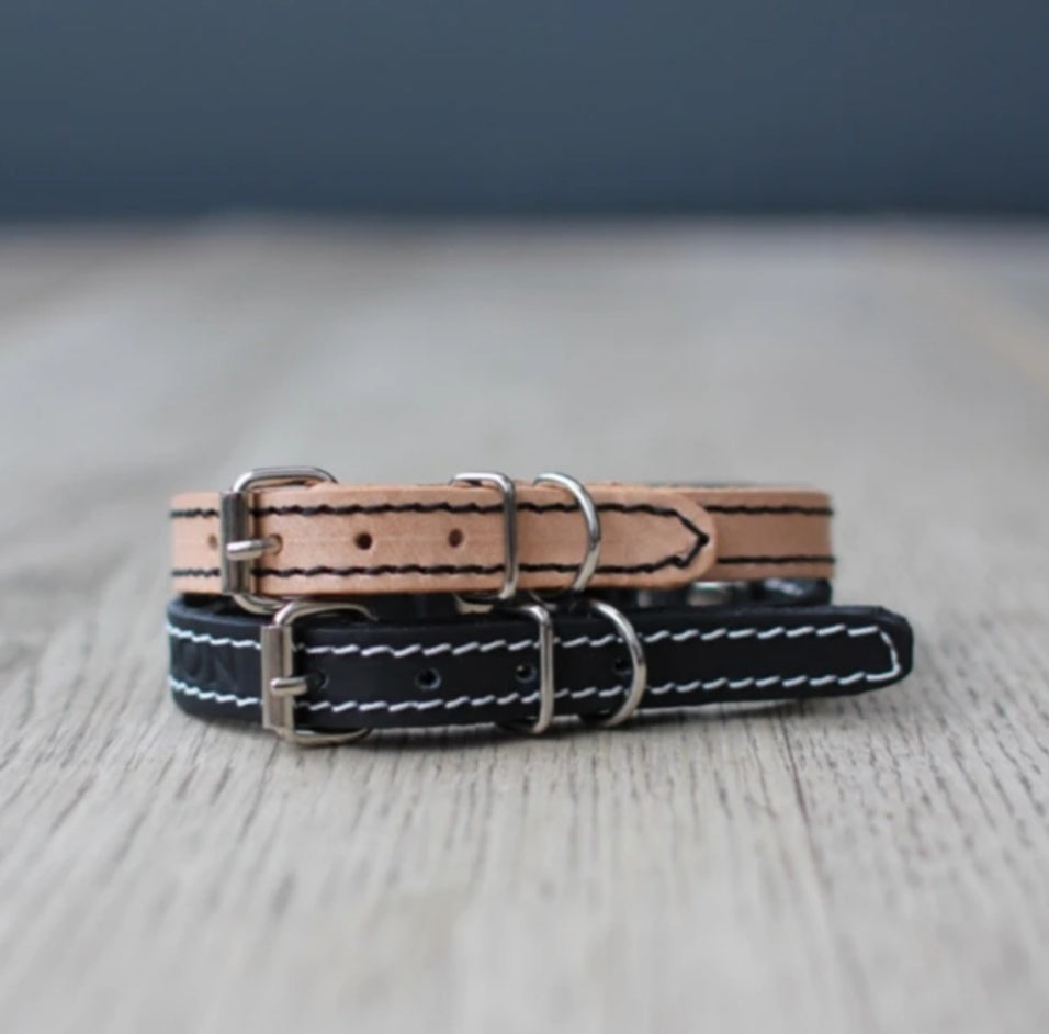 Cat Collar - Black Leather