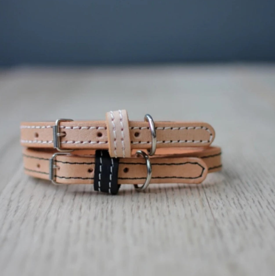 Dog Collar - Natural / Black Leather