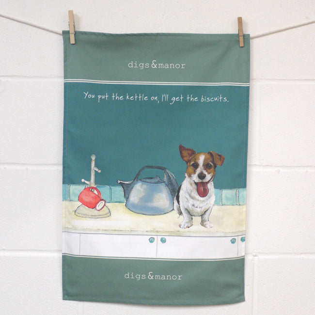 Jack Russell -  Designer Tea Towel - Kettle On