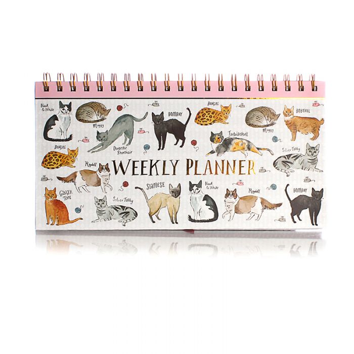 Hardback Spiral Weekly Planner - Cats