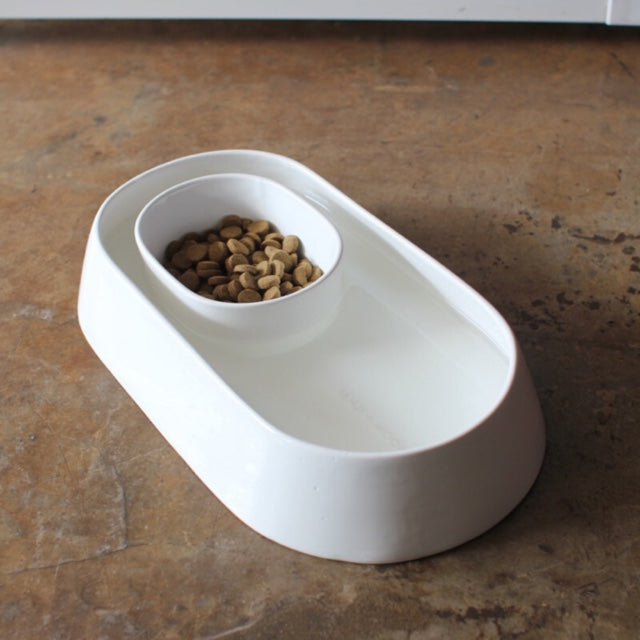 Anti - Ant Ceramic Pet food and Water Bowl (White)