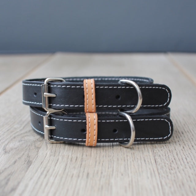 Dog Collar (Natural / Black Leather)