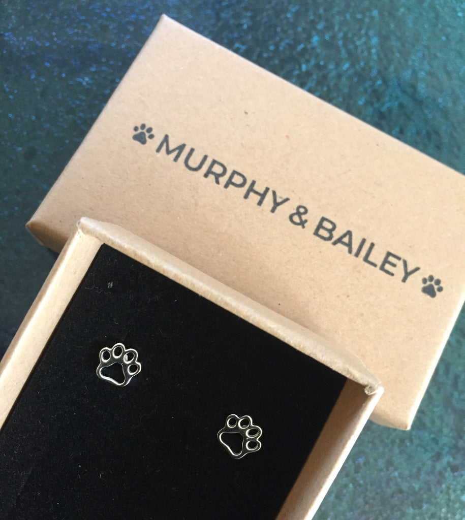 Outline Paw Print Design earrings
