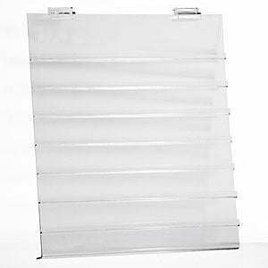 "Acrylic earring-jewelry card displayer fits slatwall - 15-1/2""w x 18""h x 1/8""thick"