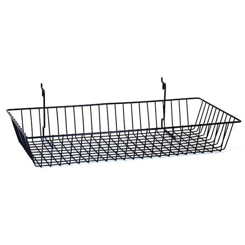 Black Basket Fits Slatwall, Grid, Pegboard