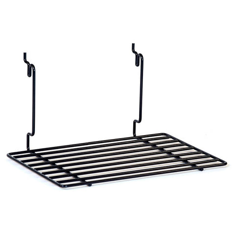 Flat Shelf Fits Slatwall, Grid, Pegboard - Black
