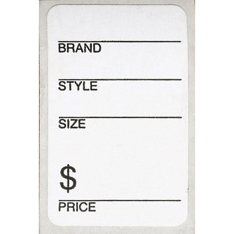 Shoe Labels - White with Adhesive Back (500/Roll)