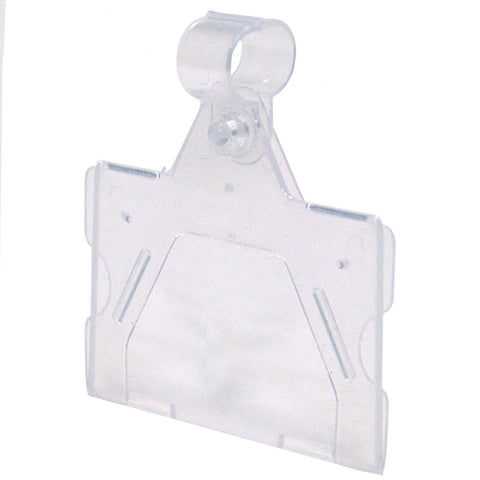 "Ticket holder, 2""wx1-1/4""h fits wire up to .375 fold-n-hold, clear plastic"