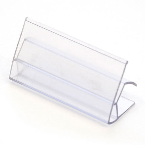 "Ticket holder, 1-1/4""h x 2-1/2""w fits 3/4"" shelf, clear"