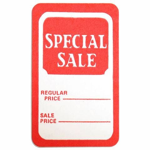"Tag - ""Special Sale"" - Regular Price/Sale Price - Red/White - (1000/Box)"