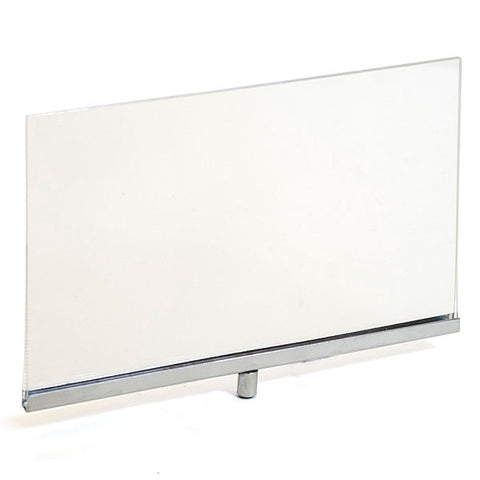 "Acrylic sign holder frame accepts 1/4"" and 3/8"" stem fitting - clear/chrome"