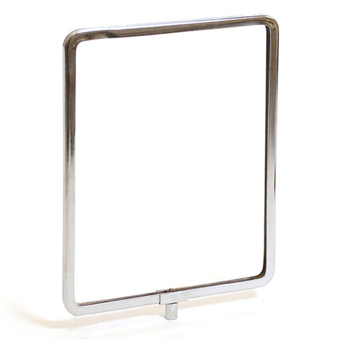 "Metal sign holder frame with rounded corners accepts 1/4"" and 3/8"" stem fittings - chrome"