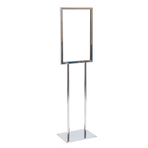 Floor Standing Sign Holder - Chrome