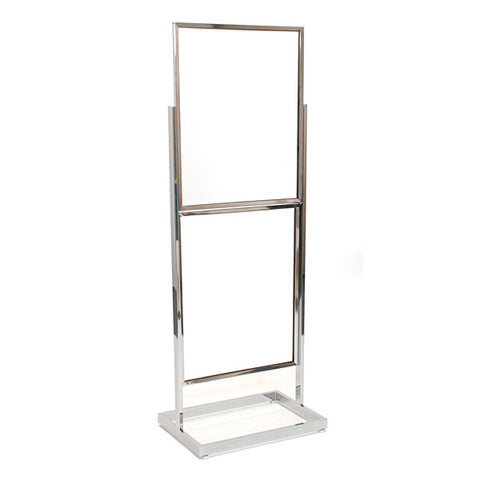 Floor standing sign holder rectangular tube - chrome